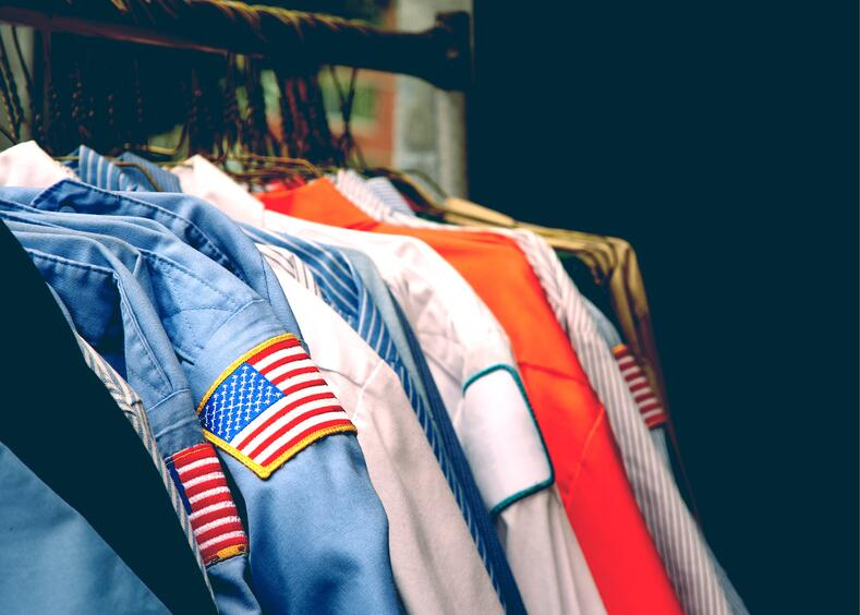 American flag embroidery on work shirts
