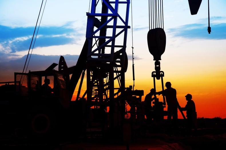 oil field workers silhouette