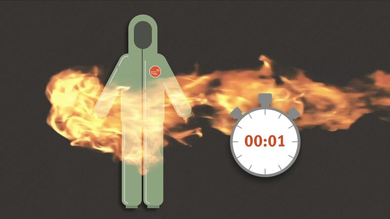 graphic of disposable coveralls being burned