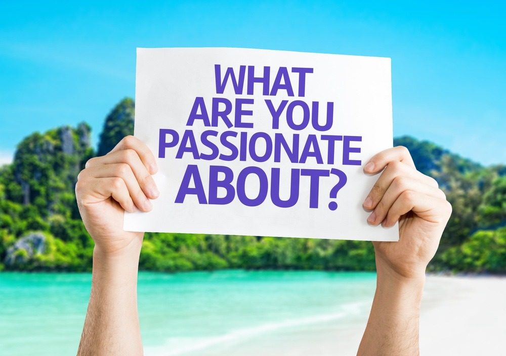 What Are You Passionate About? card with beach background